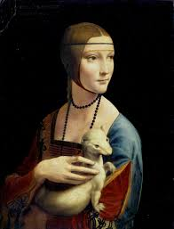レオナルド・ダ・ヴィンチ《白貂を抱く貴婦人》1489-1490年。Wikipediaより。