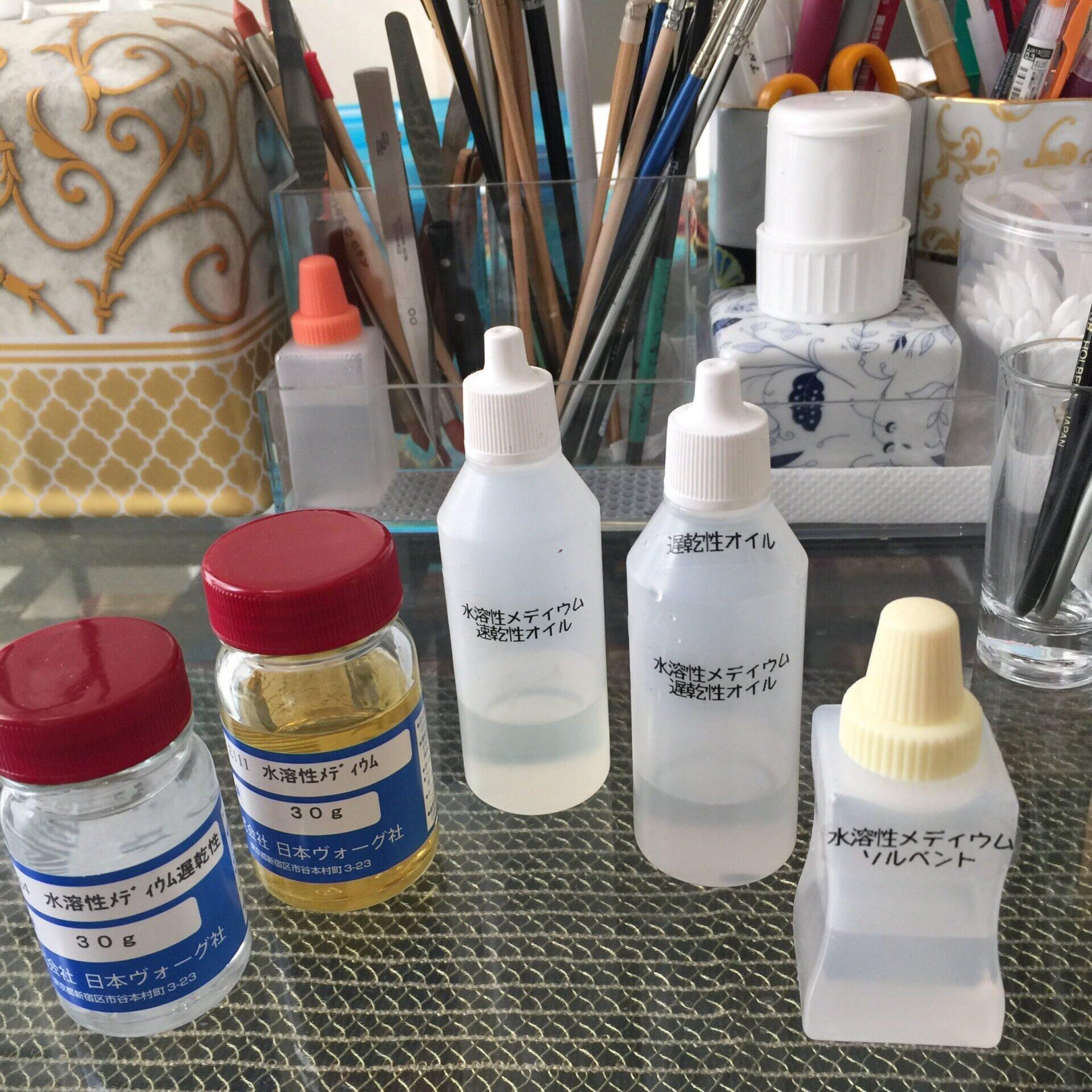 ポーセリンペインティングで使用するオイル色々